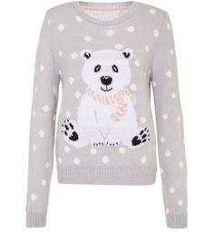 Grey Polka Dot Polar Bear Christmas Jumper