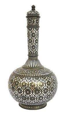 Silver Bidri Flask and Lid, Hyderabad India, Century. Available at Antique Choices Christmas Gift Inspiration, Inspirational Gifts, Hyderabad, 18th Century, Flask, Choices, Christmas Gifts, India, Antiques