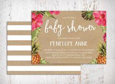 Aloha Hawaiian Tropical Pineapple Baby Shower by papermeblossom Hawaiian Baby Showers, Tropical Showers, Luau Baby Showers, Shower Party, Baby Shower Parties, Baby Shower Themes, Baby Boy Shower, Shower Ideas, Digital Invitations