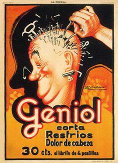 cartaz Geniol. Acompanhava uma cabeça de madeira com pregos etc para display.