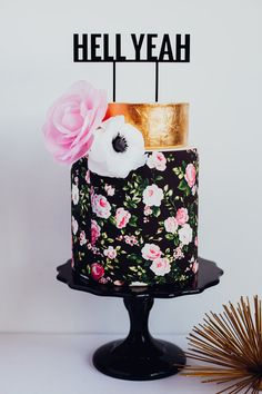 Gold and Black and Pink Cake