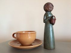 Scandinavian/Lisa Larson Style - 1960?s Ceramic Figurine - UCTCI Japan ? Mottled Teal & Grey