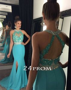 Unique green sequin long prom dress for teens, backless prom dress 2016,modest prom dress