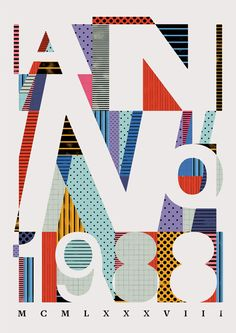 Cool patterned poster #typography #80s #graphicdesign