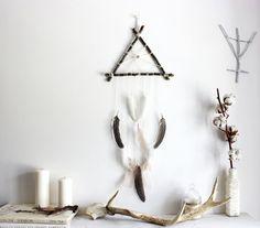 Freya . triangle dreamcatcher wall-hanging wood by BoudoirDuChaman