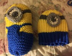 Loom knitted minion toy and minion hat by Maria R.
