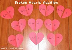 Broken Heart Addition - a fun Valentine's Day themed Math Game for kids