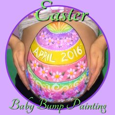 Easter themed Baby Bump Painting The Blue Leopard Face Painting/Facebook