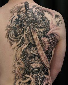 Thanks again Herman! Japanese Warrior Tattoo, Japanese Tattoos For Men, Japanese Dragon Tattoos, Japanese Tattoo Art, Japanese Sleeve Tattoos, Samurai Tattoo Sleeve, Samurai Warrior Tattoo, Full Tattoo, Full Back Tattoos