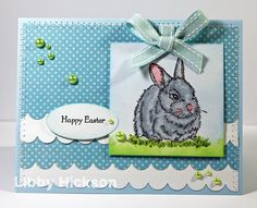 Card by Libby Hickson. Thoughtful Bunny stamp from Hero Arts.