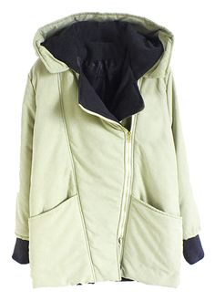 Cute-Womens-Warm-Inclined-Zipper-Hooded-Contrast-Color-Padded-Parka-Trench-Coat