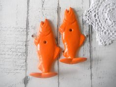 """nautical wall hooks bright orange hook cottage chic fish hook beach home decor PAIR HOOKS bathroom hook towel holder - 4.5"""" x 2"""" x 1 by Thewaterssong on Etsy"""