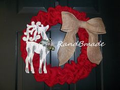 Red Reindeer Burlap Christmas Wreath by RandBmade on Etsy