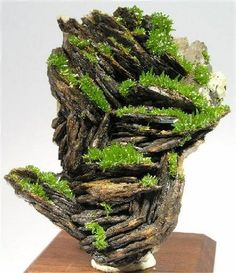 Pyromorphite on baryte,  France.  I like the grassy cliff look of this piece.
