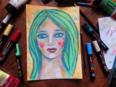 I dream, I dare, I draw...or paint! ;)  Check out the blog today to see the process of creating this beauty!  #artjournal  #mixedmedia #painting #portrait #whimsical #cristinaparus #creativemag