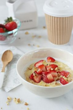 Strawberries and Cream Breakfast Polenta | Cookie Monster Cooking
