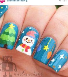 Cute snow man nail art