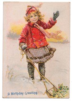 Frances Brundage Birthday Card - Girl Pulling Sled Full of Holly