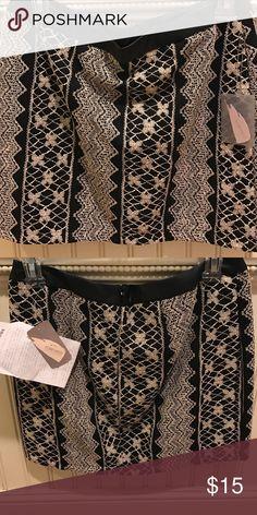 Black and Cream Skirt with leather trim Forever 21 Eyelet skirt Forever 21 Skirts Mini