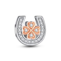 Four Leaf Clover in Horseshoe Rose Gold Charm