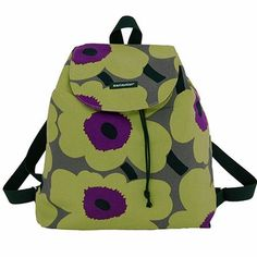 Marimekko Unikko Green/Purple Perenna Backpack Just like perennial poppies, the Unikko print pleasantly surprises us by popping up every year in fun, new color schemes. The Marimekko Unikko Green/Purple Perenna (Perennial) Backpack features Maija I. Marimekko Bag, Columbus Day Weekend, Flower Bag, Unique Bags, Weekend Sale, Green And Purple, Finland, Printing On Fabric, Sew Bags