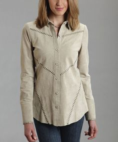 Another great find on #zulily! Tan Diagonal-Seam Leather Button-Up - Women by Stetson #zulilyfinds
