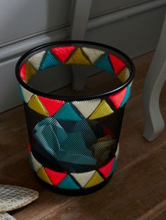 Funky Wastepaper Bin  •  Free tutorial with pictures on how to make a waste bin in under 25 minutes