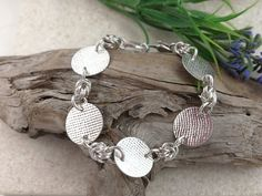 Sterling silver Textured Disc Bracelet with Chainmaille Rosettes. Everyday Bracelet Upcycled from Vintage Spoons. Silver Spoon Jewelry, Fork Jewelry, Silver Spoons, Spoon Bracelet, Bracelets, Etsy Free Shipping, Chainmaille, Organza Bags, Antique Items