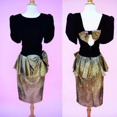 Vintage 80s 90s Black Velvet & Gold Prom Dress // Animal Print 1980s…