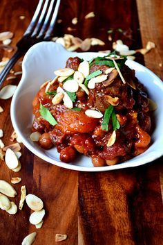 Beef and Apricot Tagine - a slow cooked Moroccan casserole, made with delicious beef shin and sweetened with apricots, dates and cinnamon.