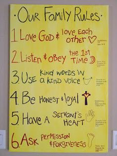 Family rules with bible verses that go with the rules. A great way to memorize scripture & have a family with great values. Made this along with some different verses and one other rule. Can't wait to memorize these verses as a family! Family Rules, Family Life, Family Motto, Family Wall, Kids And Parenting, Parenting Hacks, Parenting Styles, Parenting Plan, Parenting Classes