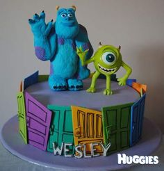A white Chocolate Raspberry Mudcake with handmade sugar models of Mike & Sully from Monsters Inc.