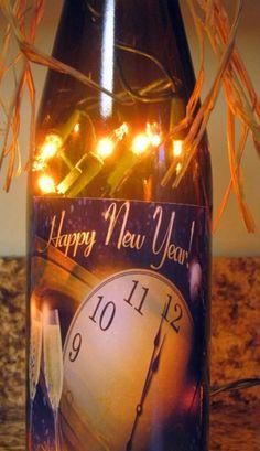 DIY New Years Lighting Wine Bottle With Bowknot for 2015 - New Years Decor bottle crafts new years crafts diy whiskey New Years Eve Day, New Years Party, New Year's Eve Celebrations, New Year Celebration, Happy New Year 2014, Year 2016, Festa Party, Wine Bottle Crafts, Wine Bottles