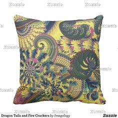 Dragon Tails and Fire Crackers Throw Pillow Fire Crackers, Dragon Tail, Decorative Throw Pillows, Cushions, Rockets, Throw Pillows, Accent Pillows, Cushion, Pillows