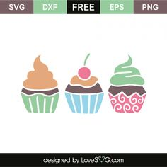 *** FREE SVG CUT FILE for Cricut, Silhouette and more *** Cupcakes