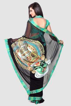 Black Kathkali Hand Painted Chiffon Saree