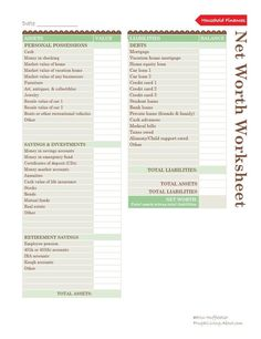 Free Household Notebook with 36 Printables: Net Worth Worksheet