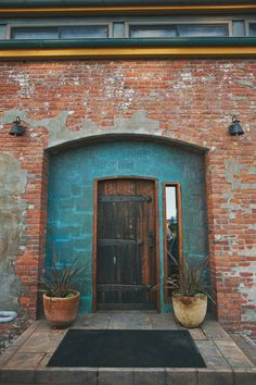 red bricks. turquoise-blue.