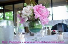 Wedding Flowers Ideas, Beautiul Pink Wedding Flowers Centerpiece In Lovely Transparet Glass Vase Combined With Fresh Green Leaves And White Wedding Flower Centerpieces: Wedding Flower Centerpiece Beautify the Wedding Table Peonies Wedding Centerpieces, Wedding Flower Arrangements, Flower Bouquet Wedding, Funeral Arrangements, Glass Centerpieces, Centerpiece Ideas, Centrepieces, Wedding Decorations, Modern Wedding Flowers