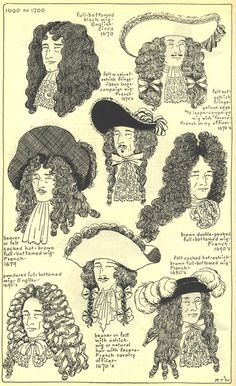 BARROCO - No inicio do século, os homens utilizavam o seu cabelo natural, como bigodes grossos e barba. Contudo, quando o cabelo de Luís XIV começou a cair, ele começou a usar perucas, o que não demorou para virar tendência entre os homens da época.