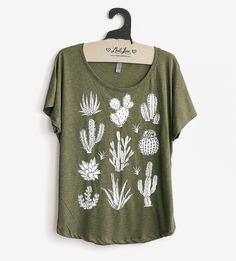 Cactus Dolman Sleeve T-Shirt by Mad Love available at Withal now. The place to get inspired goods by local makers. Girlie Style, My Style, New Wardrobe, Boho Fashion, Cute Outfits, Tees, Mens Tops, T Shirt, Cactus
