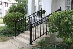 Aluminum Railing - with finials Porch Step Railing, Outdoor Stair Railing, Porch Steps, Front Steps, Deck Railings, Outside Stairs, Metal Handrails, Modern Porch, Front Yard Landscaping