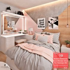 19 Modern Bedroom Decor/Design Ideas For Teenage Girl Cute Bedroom Ideas, Room Ideas Bedroom, Girl Bedroom Designs, Bedroom Themes, Dream Bedroom, Teen Bedroom, Teen Rooms, Girl Rooms, Teenage Girl Bedroom Decor
