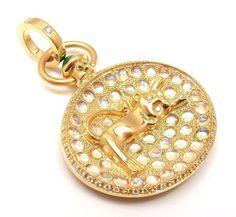 RARE! TEMPLE ST CLAIR 18K YELLOW GOLD DIAMOND MOONSTONE TERRAE LION PENDANT - Fortrove