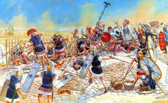 46 aC Tapso Legionarios de Cesar atacan campamento Pompeyo - Igor Dzis
