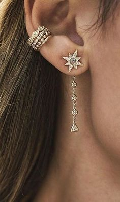 Dangle Gold Star Earring - Ear Jacket Piercing Jewelry Ideas - MyBodiArt.com