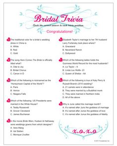 Bridal Trivia - trivia about traditions and weddings. Printable bridal shower game.