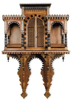 Egyptian furniture dating from the end of the XIX, early XXth century. Antique Chinese Furniture, Moroccan Furniture, Vintage Furniture, Furniture Design, Egyptian Furniture, Goldscheider, Pooja Room Design, Temple Design, Arabic Design