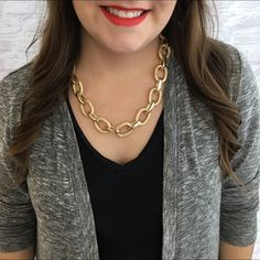 Gold & Textured Chain Link Necklace Stunning chunky gold chain link necklace. Every other link had a great texture on it for interest. Sturdy but won't make your neck tired at the end of the day. Brand new. Please carefully review each photo before purchase as they are the best descriptors of the item. My price is firm. No trades. First come, first served. Thank you! :) T&J Designs Jewelry Necklaces