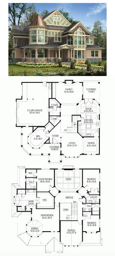 Nice layout ------- Victorian House Plan with 3965 Square Feet and 4 Bedrooms(s) from Dream Home Source | House Plan Code DHSW56105